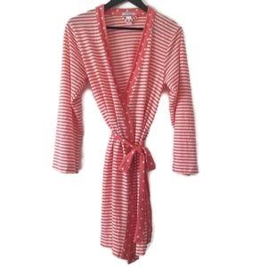 ⚡ Jockey womans pink and white  striped wrap robe